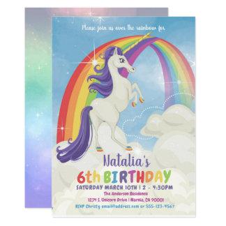 Unicorn-Regenbogen-Geburtstags-Party Einladung