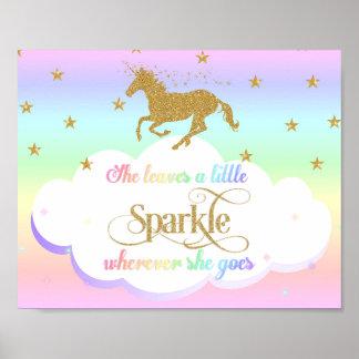Unicorn-Regenbogen verlässt sie einen wenigen Poster
