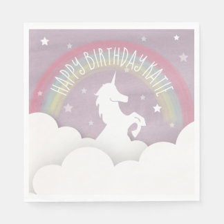 Unicorn-Silhouette-Regenbogen-Wolken + Papierserviette