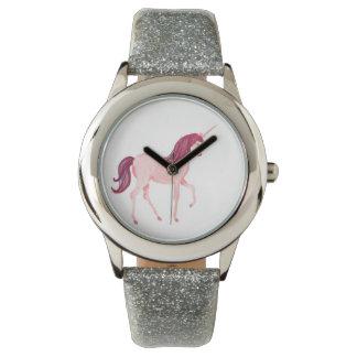 Unicorn-Uhr-Silber-Glitter-Band Uhr