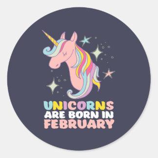 Unicorns sind geborenes im Februar Runder Aufkleber