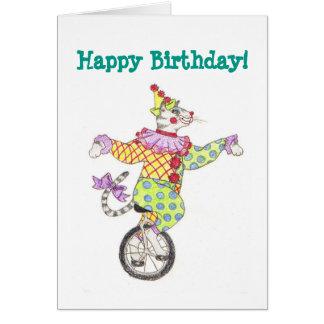 Unicycle-Clown-Katzen-Geburtstags-Karte Karte