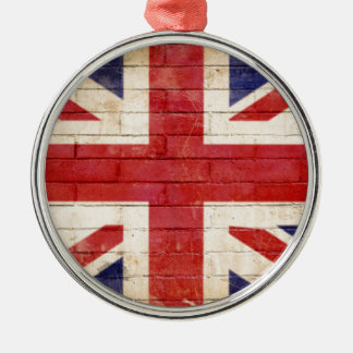 unionflag rundes silberfarbenes ornament