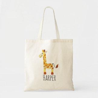UnisexAquarell-Baby-Giraffen-Safari und Name Tragetasche