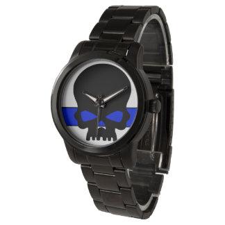 UNISEXBlue Line-Schädel-Skala-Uhr Uhr