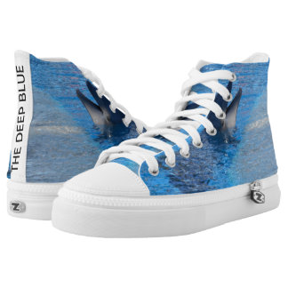 Unisexdelphin kundenspezifische Zipz hohe Hoch-geschnittene Sneaker