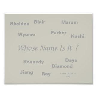 Unisexnamen auf Bild, durch MMetropolim Fotodruck