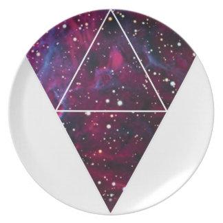 Universum des Dreieck-Raum-Lebens Flacher Teller