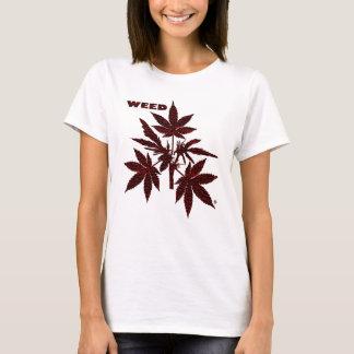 Unkraut-Baum-Knospen, die T-Shirt-1 Rot-Zeichnen T-Shirt