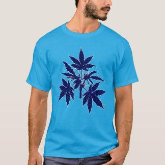 Unkraut-Baum-Knospen, die T-Shirt-2 Blau-Zeichnen T-Shirt