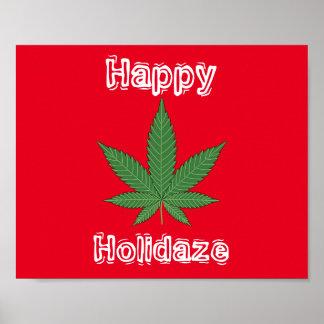 Unkraut-Blatt-Weihnachten glückliches Holidaze Poster