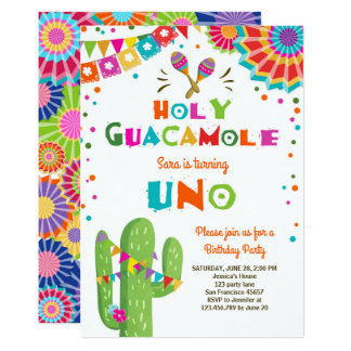 UNO-Fiesta-erstes Geburtstagseinladung Karte