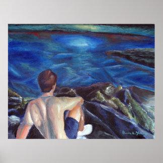 UNO homme à l'océan Poster