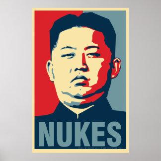 """UNO-""""Kernwaffen"""" Obama-Parodie-Plakat Kim-Jong Poster"""
