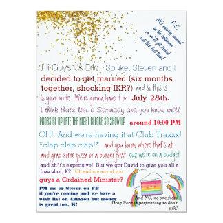 Unordentliche Verein-Königin-homosexuelle Hochzeit 16,5 X 22,2 Cm Einladungskarte