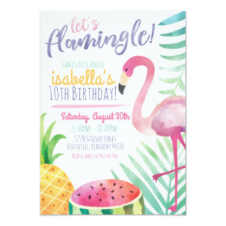 Uns gelassen Flamingle Sommer-Geburtstags-Party Karte