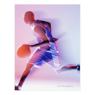 Unscharfe Ansicht des Basketball-Spielers Postkarte