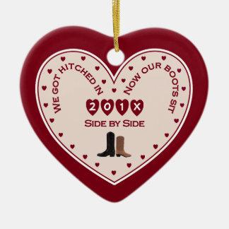 Unser 1. Weihnachtsverheirateter Land-Western Keramik Ornament