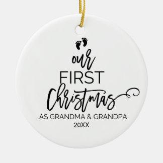Unser erstes Weihnachten als Großmutter-und Keramik Ornament