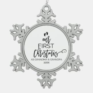 Unser erstes Weihnachten als Großmutter-und Schneeflocken Zinn-Ornament