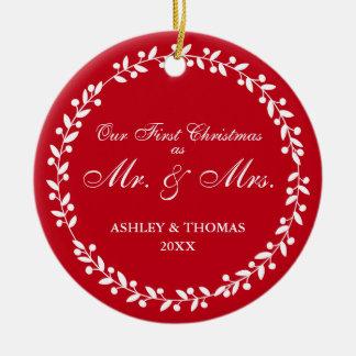Unser erstes Weihnachten als Herr und Frau rundes Keramik Ornament