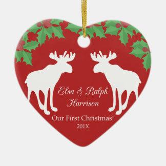 Unser erstes Weihnachten - dekoratives Herz der Keramik Ornament