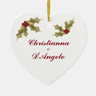 """""""Unser erstes Weihnachten/Ehemann und Ehefrau """" Keramik Herz-Ornament"""