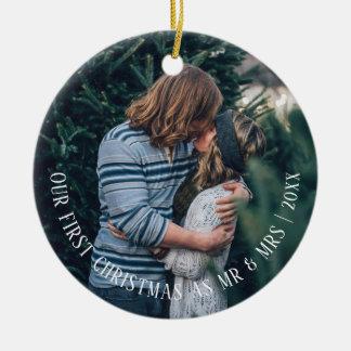 Unser erstes Weihnachten personalisiert Rundes Keramik Ornament