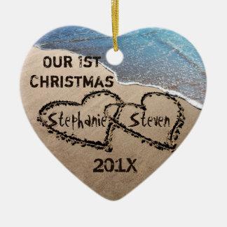 Unser erstes Weihnachten zwei Herzen in der Keramik Ornament