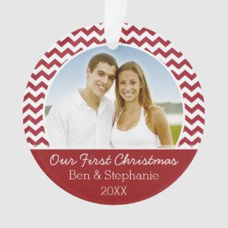 Unser erstes WeihnachtsFoto - doppelseitig Ornament