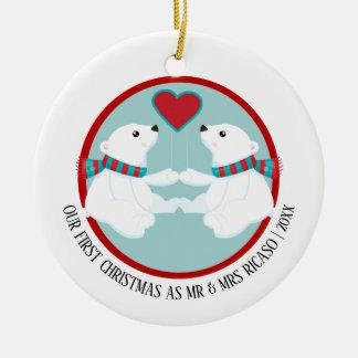 Unser erstes Weihnachtspolarer Bär personalisiert Rundes Keramik Ornament