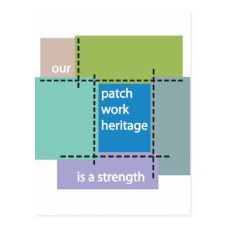Unser Patchwork-Erbe ist eine Stärke Postkarte