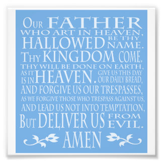 """""""Unser Vater-"""" Gebet, blauer Schatten Fotodruck"""