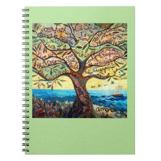 Unser Vater gemaltes Gebets-Baum-Notizbuch Spiral Notizblock