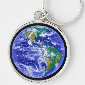Unser Zuhause - die Erde Keychain Silberfarbener Runder Schlüsselanhänger