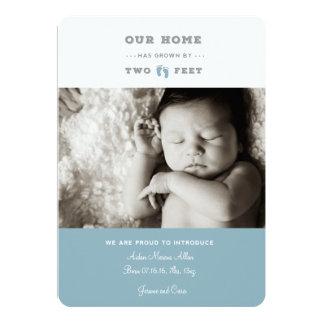 Unser Zuhause ist durch zwei Fuß Geburtsmitteilung 12,7 X 17,8 Cm Einladungskarte
