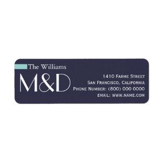 unsere Adresse, mit Monogramm Blau Rücksendeetiketten