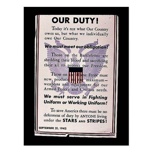 Unsere Aufgabe! Wir müssen unsere Verpflichtung Postkarte