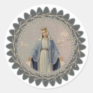 Unsere Dame der Anmut gesegneten Jungfrau Mary Runder Aufkleber