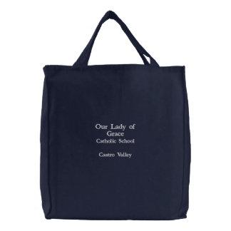 Unsere Dame der Anmut-Leinwand-Tasche Bestickte Tragetasche