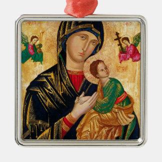 Unsere Dame unaufhörlicher Quadratisches Silberfarbenes Ornament