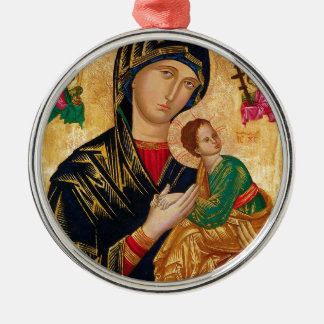 Unsere Dame unaufhörlicher Rundes Silberfarbenes Ornament