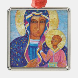 Unsere Dame von Czestochowa schwarzes Madonna Quadratisches Silberfarbenes Ornament