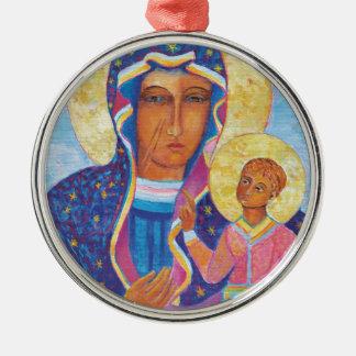 Unsere Dame von Czestochowa schwarzes Madonna Rundes Silberfarbenes Ornament
