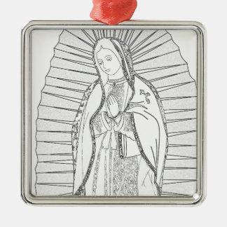 unsere Dame von Guadalupe Quadratisches Silberfarbenes Ornament