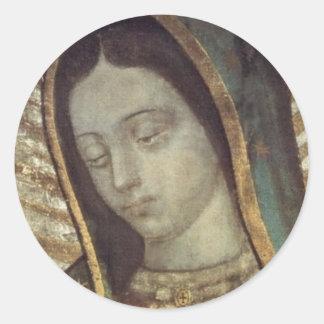 Unsere Dame von Guadalupe Runder Aufkleber