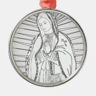unsere Dame von Guadalupe Rundes Silberfarbenes Ornament