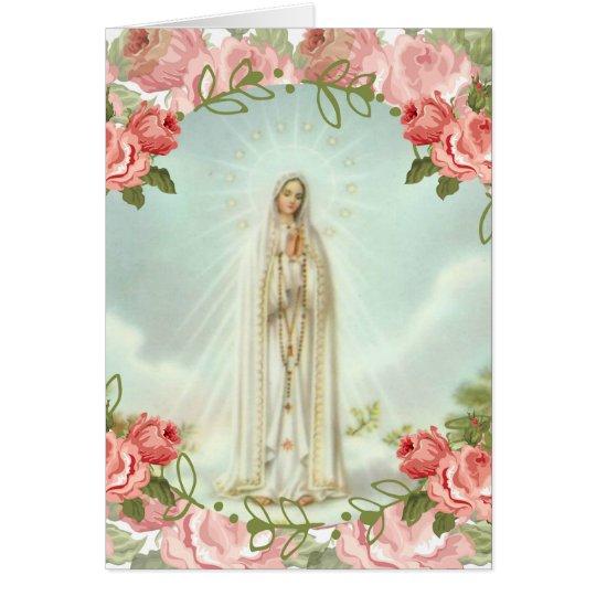 Unsere Dame von rosa Rosen Fatima Karte