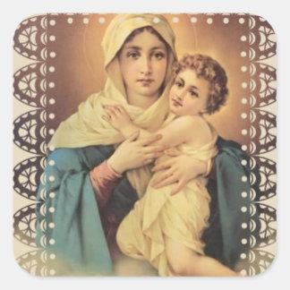Unsere Dame von Schoenstatt Jungfrau Mary Jesus Quadratischer Aufkleber