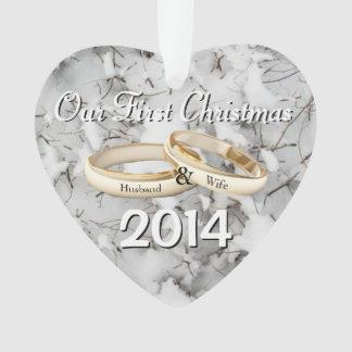 Unsere erste Weihnachtsherz-Weihnachtsverzierung Ornament